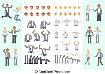 Character creation set - Cartoon business man and woman full...
