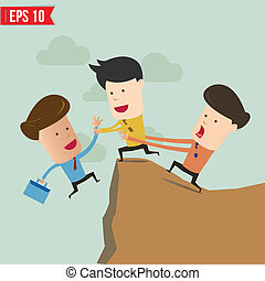 Cartoon Business man helping another over the cliff - Vector illustration - EPS10