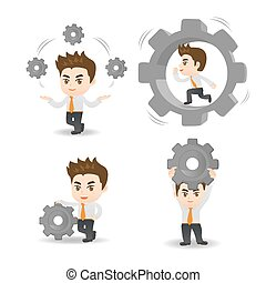 cartoon illustration set of Business man hold gear