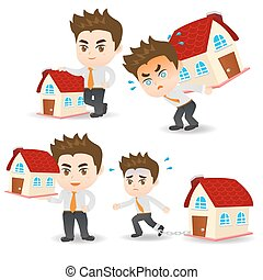 cartoon Business man home loan