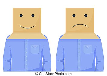Cartoon business man in positive and negative box head vector graphic illustration. Human in cardboard having smile and upset face expression isolated on white. Optimist and pessimist person