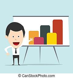Cartoon business man present graph