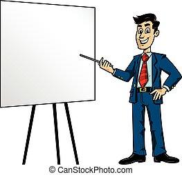 Cartoon Business Man Presentation