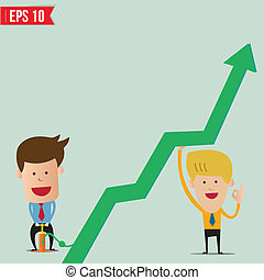 Cartoon Business man pump graph - Vector illustration -...