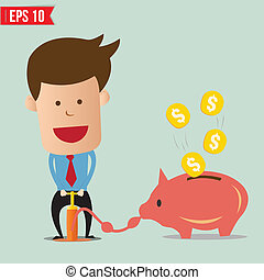 Cartoon Business man pump money - Vector illustration - EPS10