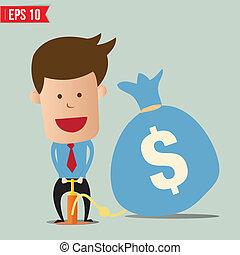 Cartoon Business man pumping money balloon - Vector illustration - EPS10
