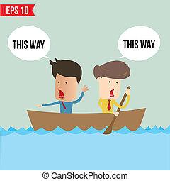Cartoon business man rowing a boat - Vector illustration -...