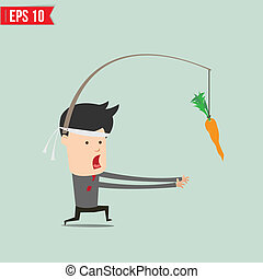 Cartoon Business man trying to reach a carrot  - Vector illustration - EPS10