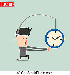Cartoon Business man trying to reach a clock  - Vector illustration - EPS10