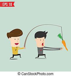 Cartoon Business man trying to reach a carrot - Vector...