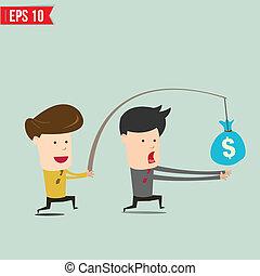 Cartoon Business man trying to reach money - Vector...