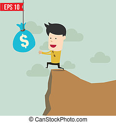 Cartoon Business man trying to reach money  - Vector illustration - EPS10