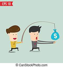 Cartoon Business man trying to reach money - Vector...