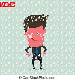 Cartoon Business man use thermometer measure temperature - Vector illustration - EPS10