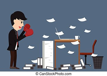 Cartoon business man with boxing gloves looking at his desk in office and battle with his job. vector illustration.