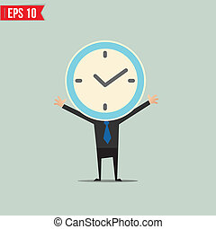 Cartoon Business man with clock face  - Vector illustration - EPS10