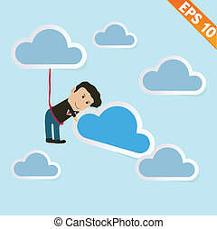 Cartoon business man with cloud computing - Vector illustration - EPS10