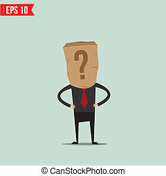 Cartoon Business man with paper bag - Vector illustration - EPS10