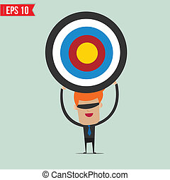 Cartoon business man with the target  - Vector illustration - EPS10