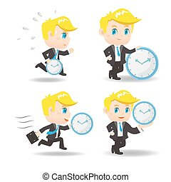cartoon Business man with time