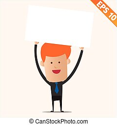 Cartoon business man with white board - Vector illustration - EPS10