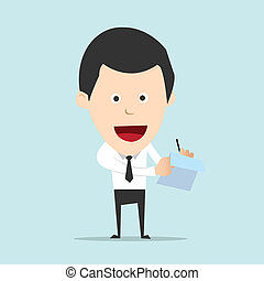 Cartoon business man write note and report