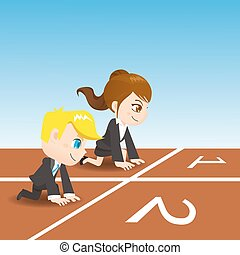 cartoon business people competing - cartoon illustration set...