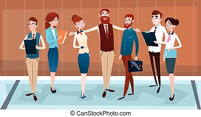 Cartoon Business People Group Team Businesspeople Teamwork