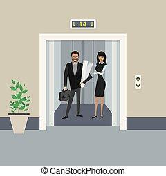Cartoon business people in elevator or lift with open doors
