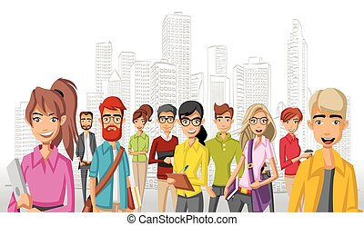 cartoon business people in the city - Group of cartoon...