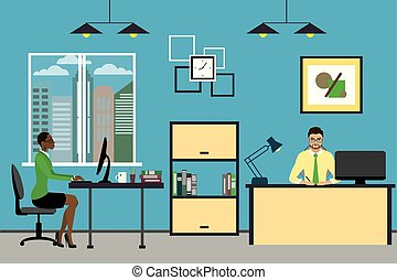 Cartoon business people working at home or modern office. -...