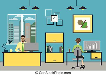 Cartoon business people working at home or modern office