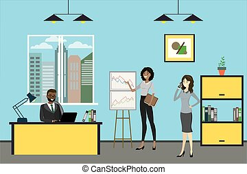 Cartoon business people working in modern office