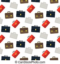 Cartoon business suitcase seamless pattern on white background, vector illustration for your web design.