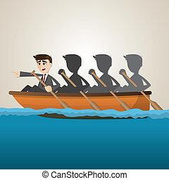 cartoon business team rowing on sea - illustration of...