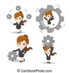 cartoon Business woman hold gear