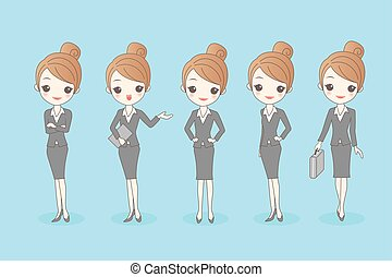 cartoon business woman set