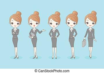 cartoon business woman set