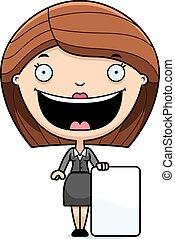 Cartoon Business Woman Sign