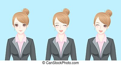cartoon business woman smile happily
