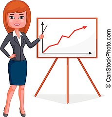 cartoon business woman standing for god presentation on business chart