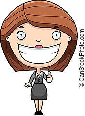 Cartoon Business Woman Thumbs Up