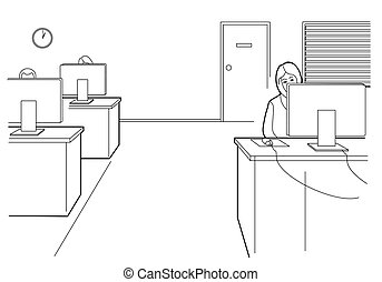 Cartoon business. Woman work in open office. Black vector illustration isolated on white background