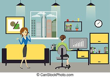 Cartoon business woman  working at home or modern offic