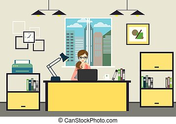 Cartoon business woman working at home or modern office