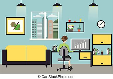 Cartoon business woman working at home or modern office,