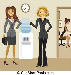 Cartoon Business Women at the Watercooler