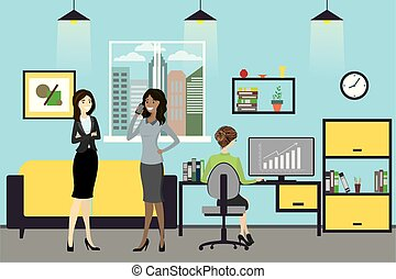 Cartoon business women working at modern office