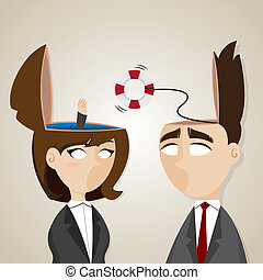 cartoon businessman and businesswoman with buoy helping