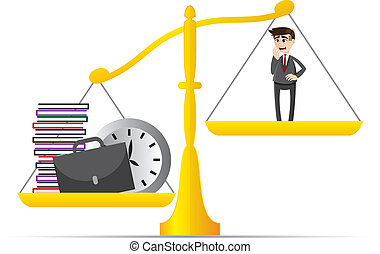 cartoon businessman and lot of work on balance scale -...